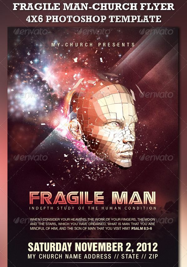 Fragile Man-Church Flyer Template